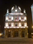 The town hall decorated for Christmas
