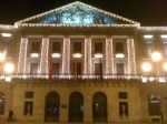 La Diputación de Navarra--the seat of the government of the autonomous community of Navarra--lit up with Christmas lights