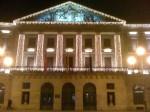 La Diputación de Navarra--the seat of the government of the autonomous community of Navarra--lit up with Christmas lights