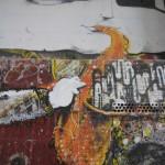 Street art of saxaphonist, up close