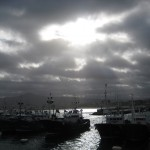 The sun shines on the Hondarribia fishing fleet