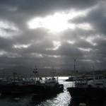 The sun shines on the Hondarribia fishing fleet
