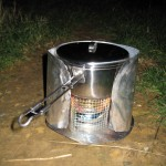 Camp stove set-up, all homemade except for the pot!