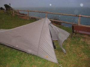 The tent door flapping in the high winds after restaking